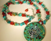 Turquoise and Red Jasper Necklace, Turquoise Pendant, Native American Style