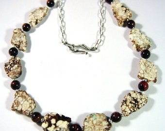 Unique Natural Magnesite and Tiger Eye Necklace OOAK