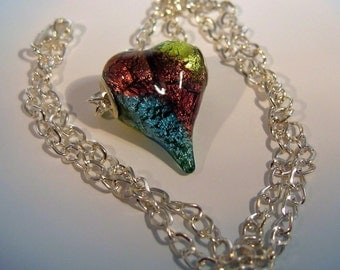 Foil Glass Heart Focal Bead and Silver Chain Necklace