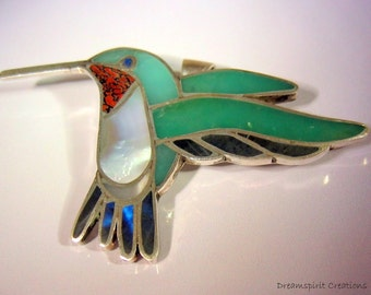Channel Work Ruby Throated Hummingbird Pendant or Brooch, Sterling Silver