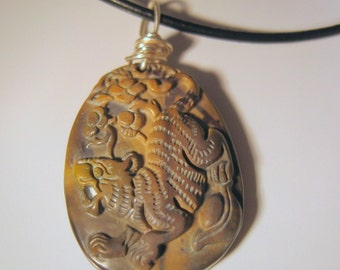 Picasso Jasper Carved Dragon Pendant Necklace, Wire wrapped, Unisex
