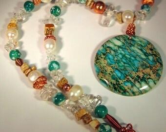 Sea Sediment Jasper Pendant with Quartz, Jasper, Pearl, Agate and Copper Necklace