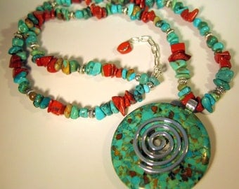Turquoise and Red Jasper Necklace, Turquoise Pendant, Native American Inspired