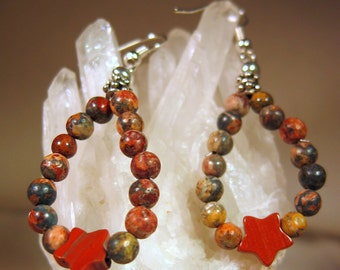 Hoop Earrings, Leopardskin and Red Jasper Teardrop