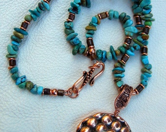 Natural American Turquoise and Copper Necklace and Pendant OOAK