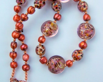 Lampwork Glass, Pearls and Copper Necklace
