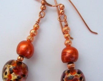 Lampwork Glass, Pearls and Copper Dangle Earrings