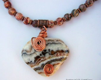 Zebra Jasper Pendant with Leopardskin Jasper and Copper Necklace