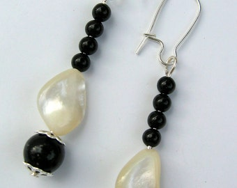 Dangle Earrings, Onyx and Mother of Pearl