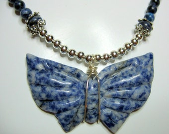 Carved Sodalite Butterfly Pendant and Sodalite Necklace