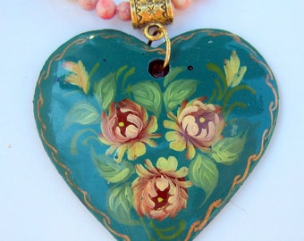 Turquoise Necklace with Zhostovo Russian Decorative Art Hand Painted Pendant