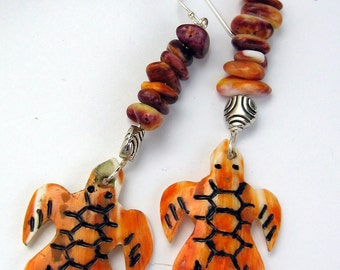 Dangle Earrings, Spiny Oyster Turtle Native American Inspired