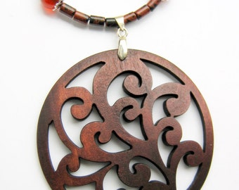 Mahogany Jasper, Carnelian Agate Necklace With Filigree Wood Pendant