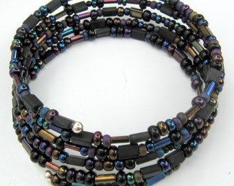 Memory Wire Bracelet of Varied Czech Glass Beads