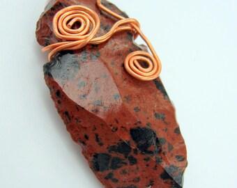 Mahogany Obsidian Hand Knapped Arrowhead Unisex Necklace and Pendant Native American Style