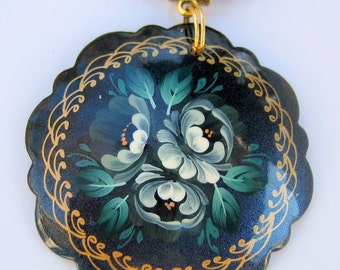 Zhostovo Russian Decorative Art Hand Painted Pendant with Turquoise and Onyx Necklace