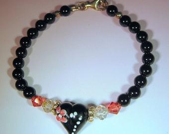 Bracelet, Black Onyx and Pink Swarovski Crystal with Lampwork Bead