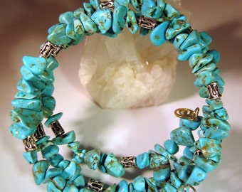 Memory Wire Bracelet, Turquoise Magnesite Nugget