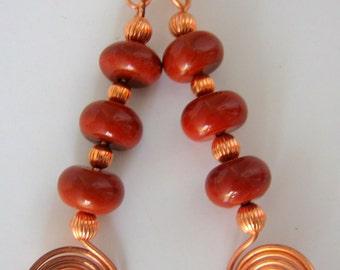 Native American Inspired Red Jasper and Copper Earrings