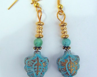 Dangle Earrings, Turquoise & Antiqued Brass