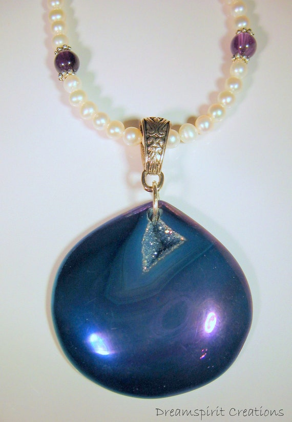 Necklace, Pearl and Amethyst with Druzy Agate Pendant