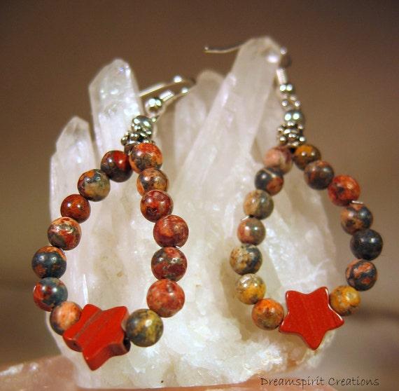 Hoop Earrings, Leopardskin and Red Jasper Teardrop