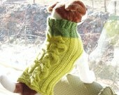 Dog Sweater Hand Knit Avacado with Lime Cable Merino Wool Medium