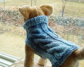 Dog Sweater Hand Knit Sky Cable Small  Wool Blend