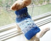 Dog Sweater Hand Knit Fair Isle Blue Small