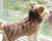 Dog Sweater Hand Knit Topaz Cable Small