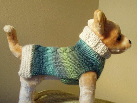 Dog Sweater Hand Knit Ocean Waves Cashmere Cable Small Spring Preview