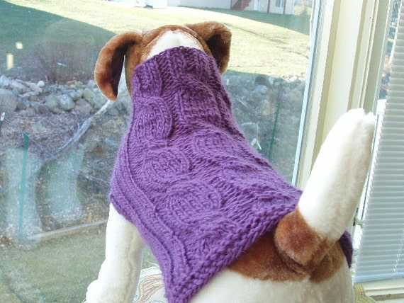 Dog Sweater Hand Knit  Lavender Cable Pure Wool Medium