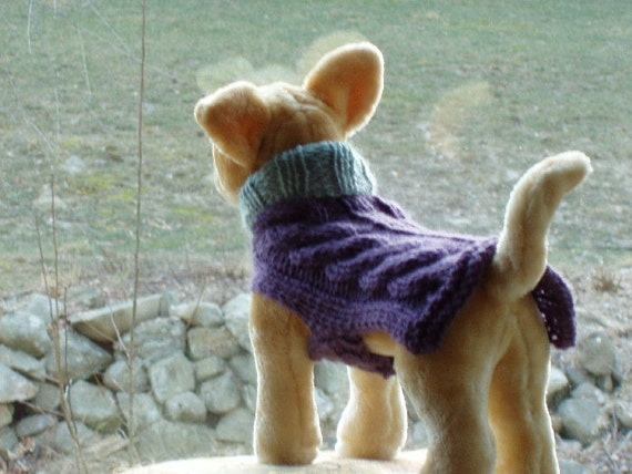 Dog Sweater Hand Knit Cable Lilac and Seafoam Small