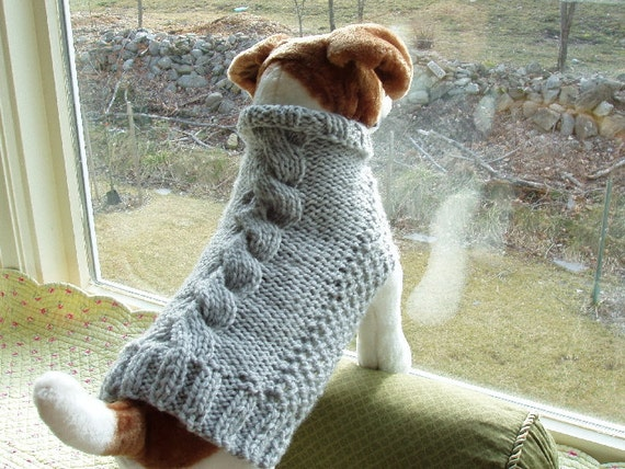 Dog Sweater Hand Knit Heather Grey Cable  Medium