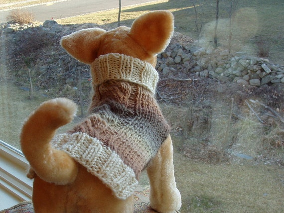 Dog Sweater Hand Knit Cashmere Cable Small RESERVED FOR GG