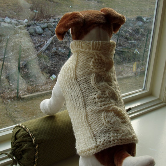 Dog Sweater Hand Knit Ivory Garter Stitch Cable Medium