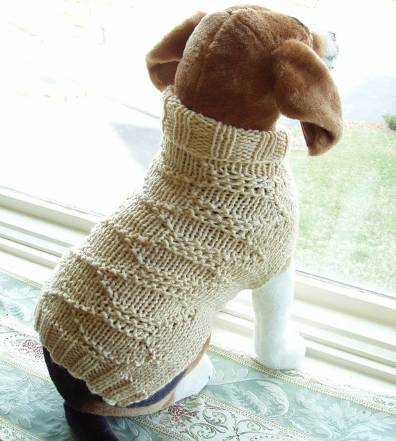 "Dog Sweater Hand Knit Ivory Mediuml 14"" Length"