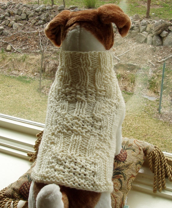 Dog Sweater Hand Knit Ivory Small