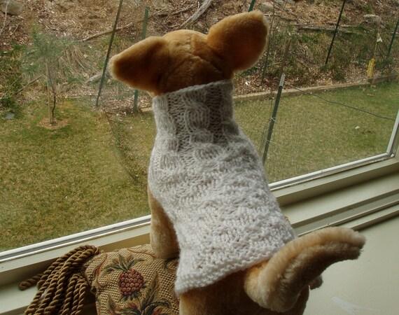 Dog Sweater Hand Knit Dove XSmall