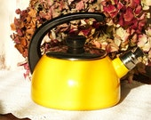 Vintage French Sunny Yellow Enamel Kettle - Home Decor