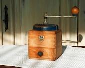 Vintage French Wood Coffee Grinder Peugeot Frères