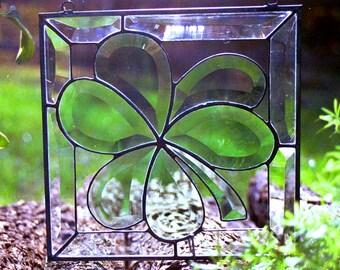 Stained Glass Beveled Shamrock Panel