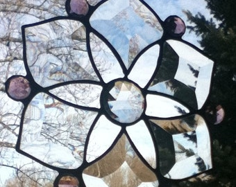 Beveled Stained Glass Jeweled Snowflake Sun Catcher - Amethyst