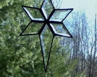 Stained Glass Beveled North Star Sun Catcher - Small