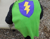 Kid's Cape in Green with a Thunderbolt