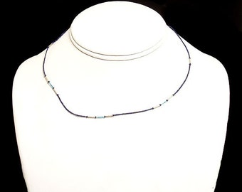 Afghani Necklace Tiny Lapis Lazuli Turquoise Silver Beads Afghanistan 50535