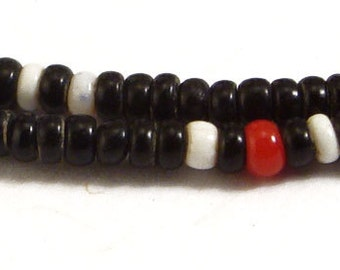 2 Strands Seed Trade Beads Glass Black White Red Africa 26 Inch 63832 SALE WAS 15