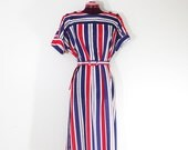 SALE Red, white and blue striped dress size M