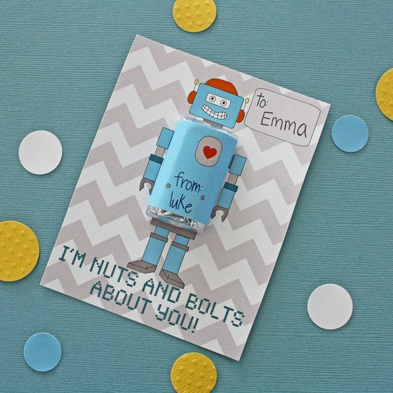 Printable Personalized Robot Valentine with Hersheys Miniature wrap