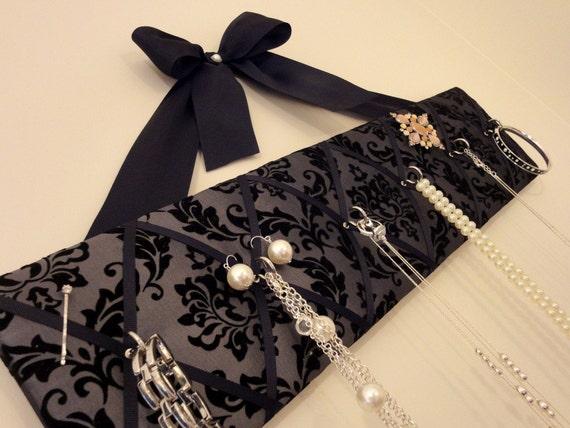 Original French Jewelry Hanger - Flocked Black Damask on Pewter Satin